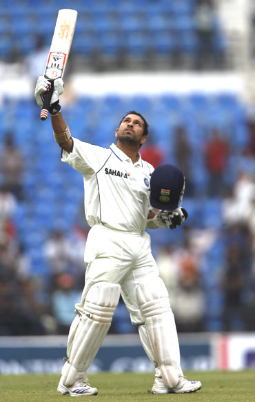 Sachin Tendulkar thanks the almighty after scoring his 46th Test century