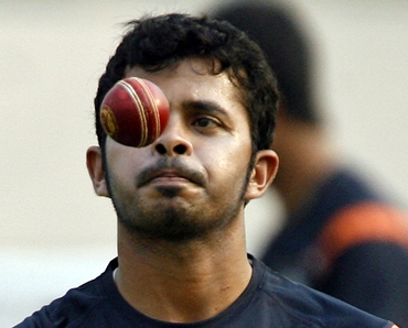 India pacer S Sreesanth goes through a bowling drill