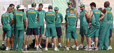 The South African team during a practice session on Friday