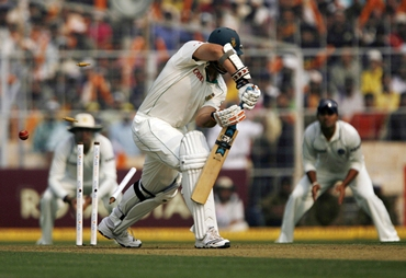 Graeme Smith is bowled by Zaheer Khan