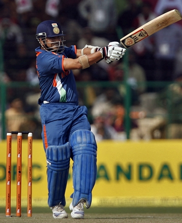Sachin Tendulkar at the start of his memorable innings