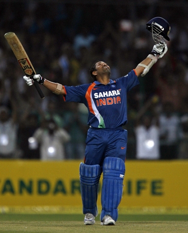 Tendulkar celebrates after completing 200
