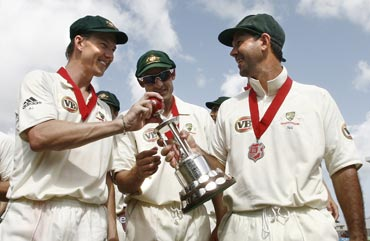 Ricky Ponting and Brett Lee after winning a series in West Indies