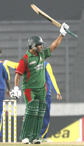 Ashraful celebrates after hitting a half-century