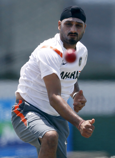 Harbhajan Singh in a practice session in Galle