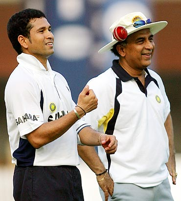 Sunil Gavaskar (right) with Sachin Tendulkar