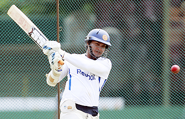 Sri Lanka's captain Kumar Sangakkara plays a shot during a practice session on Sunday