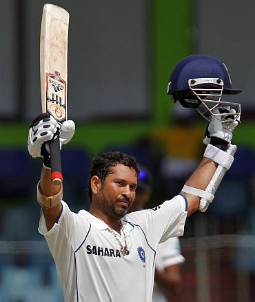 Tendulkar reacts after his double century
