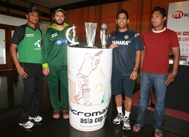 Captains of Bangladesh, Pakistan, India and Sri Lanka at the Asia Cup trophy launch