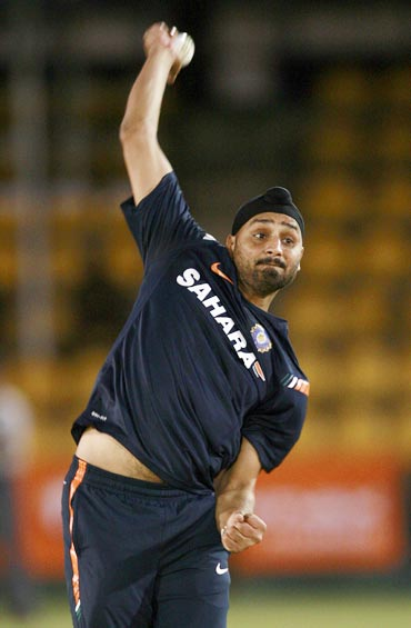 Harbhajan Singh during a practice session