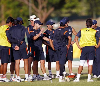 India coach Gary Kirsten speaks to his players during a training session
