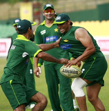 Shoaib Akhtar during a practice session