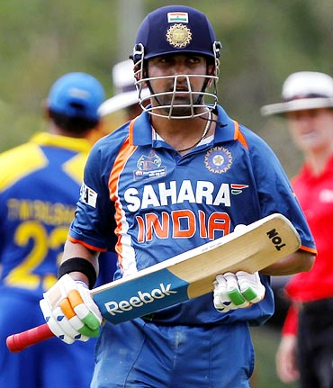Gautam Gambhir walks back after his dismissal