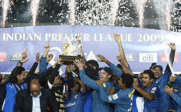 Deccan Chargers celebrate after claiming the Indian Premier League (IPL) title last year
