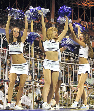 Cheerleaders strutt their stuff during an IPL match last year