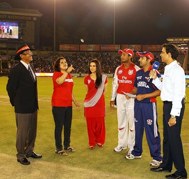 The toss takes place ahead of the IPL match between Kings XI Punjab and Delhi Daredevils