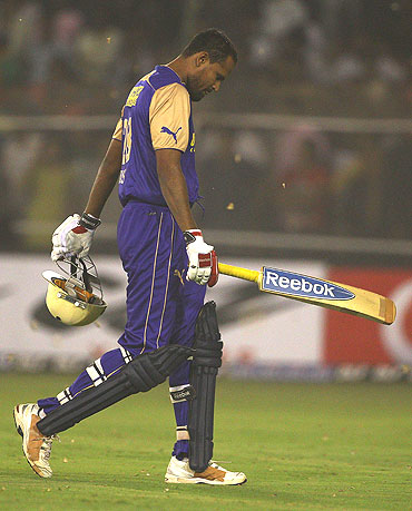 Yusuf Pathan walks back after his dismissal