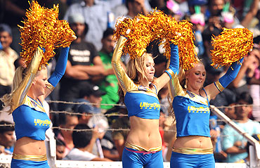 Cheerleaders perform during the IPL match between the Kolkata Knight Riders and Deccan Chargers