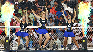 Cheerleaders strut their stuff during a match between the Mumbai Indians and Rajasthan Royals