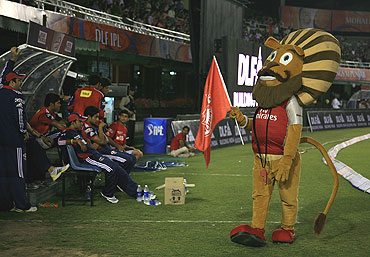 Kings XI Punjab's mascot during a match between the Kings XI Punjab and the Delhi Daredevils