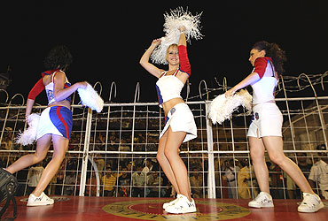 Cheerleaders entertain the crowd during the match between the Kolkata Knight Riders and Royal Challengers Bangalore