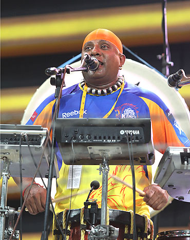 Percussionist Sivamani performs during the match between the Chennai Super Kings and Deccan Chargers