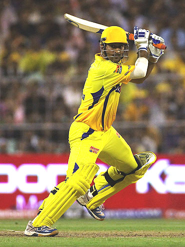 Mahendra Singh Dhoni cuts one to the boundary