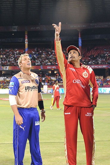 Shane Warne (left), captain of Rajasthan Royals, and Anil Kumble, captain of Royal Challengers Bangalore, during the toss before the Indian Premier League match