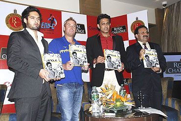 Siddharth Mallya, Shane Warne, Anil Kumble and Alok Bharadwaj , Sr. Vice President, Canon India at the book launch