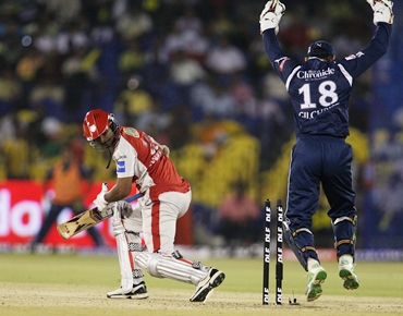 Sangakkara watches his stumps shattered
