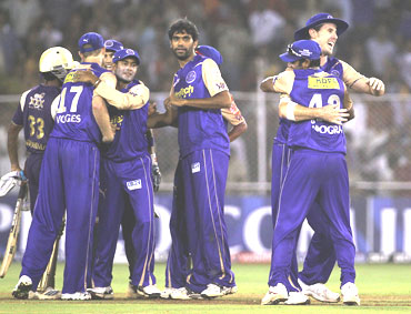 Rajasthan Royals celebrate after beating Kolkata Knight Riders