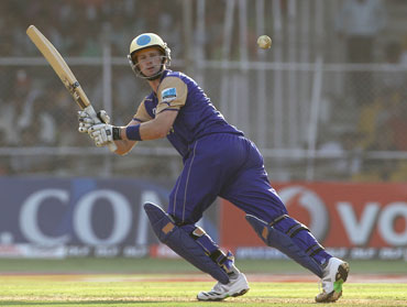 Adam Vogues hit two boundaries and two huge sixes