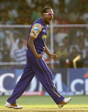 Yusuf Pathan celebrates after picking up Manoj Tiwari