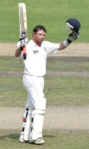 Ian Bell acknowledges the crowd after completing a century against Bangladesh on Monday