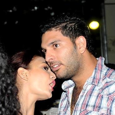 Yuvraj Singh with model Aanchal Kumar