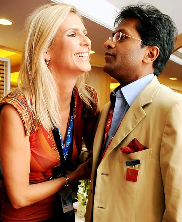 Lalit Modi with former Miss Universe Michelle McLean