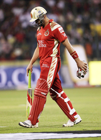Jacques Kallis of Bangalore walks off after his dismissal