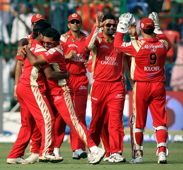 Royal Challengers players celebrate after Sehwag is dismissed