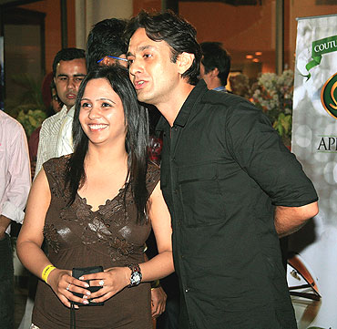 Owner of Punjab Kings XI Ness Wadia (right) with a friend