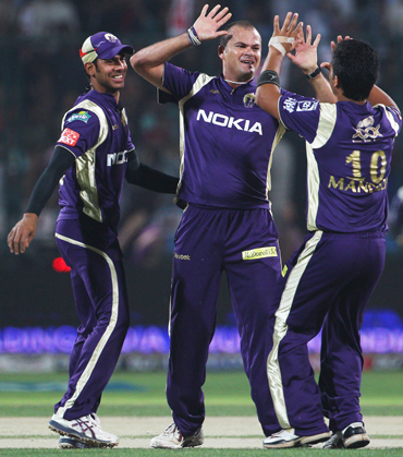 Charl Langeveldt of the Knight Riders celebrates after taking the wicket of Gautam Gambhir
