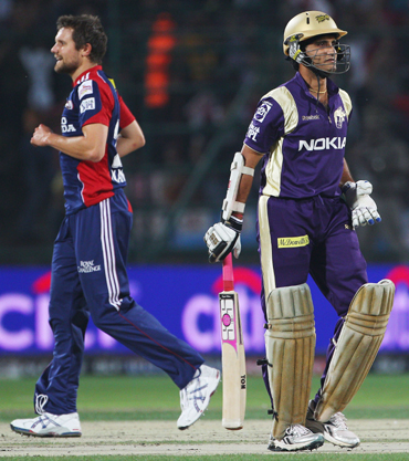 -Sourav Ganguly of the Knight Riders leaves the field after being bowled by Dirk Nannes