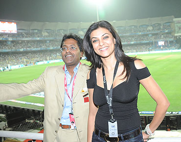 Lalit Modi and Sushmita Sen at the Brabourne stadium