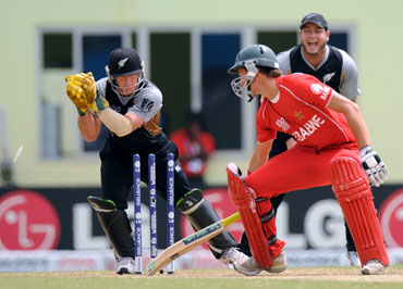 Zimbabwe's Craig Ervine is stumped by Gareth Hopkins
