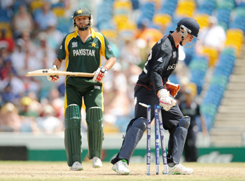 Shahid Afridi reacts as he is run-out by Kieswetter