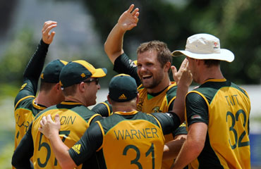 Dirk Nannes celebrate after picking up a wicket
