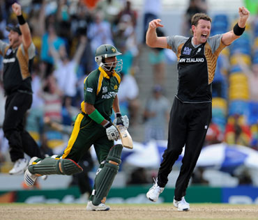 Ian Butler celebrates after New Zealand won the match