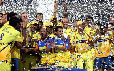 Chennai Super Kings lift the IPL trophy