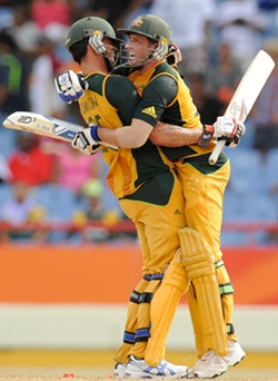 Johnson and Hussey after the winning runs are scored