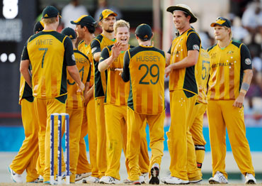 Australian team after picking up a wicket