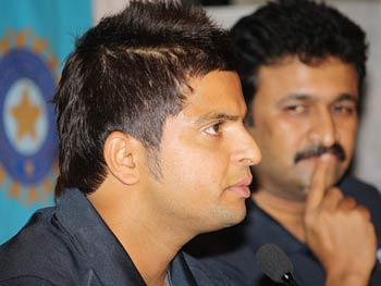 Suresh Raina and GVK Ranga Raju, captain and manager (Team India)